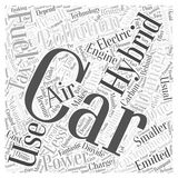 Advantages of hybrid car word cloud concept background. Text Stock Illustration
