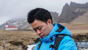 Advanture asiático Islandia, viaje ideal del hombre del viajero Fotografía de archivo