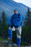 Advanture man with backpack hiking Royalty Free Stock Photography