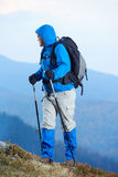 Advanture man with backpack hiking Royalty Free Stock Images