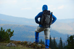 Advanture man with backpack hiking Royalty Free Stock Photo