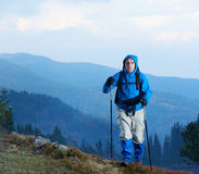 Advanture man with backpack hiking Stock Images