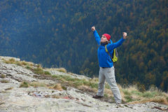Advanture man with backpack hiking Stock Image