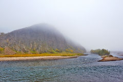 The advection fog and yalu river Royalty Free Stock Photography