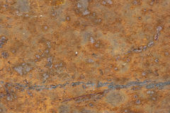 Advenced rust. Heavily rusted plate with scratches  horizontal Royalty Free Stock Images