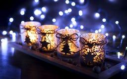 Advenimiento, cuatro velas adornadas Imágenes de archivo libres de regalías