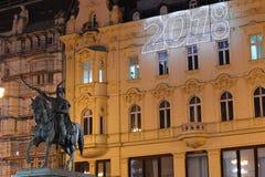 Advenimiento en la plaza principal en Zagreb, Croacia Fotos de archivo libres de regalías
