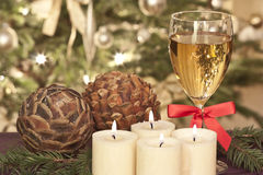 Advent. Candles with cones and pine Royalty Free Stock Photography