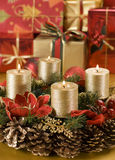 Advent. Wreath with golden candles close up shoot Stock Image