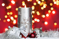 Advent background with candle and baubles Stock Photos