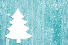 Advent background of old wood in turquoise and a christmas tree. Royalty Free Stock Image