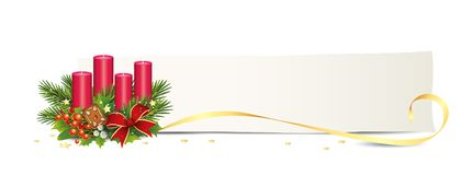 Advent banner with candles, card, golden stars and bow, Advent arrangement, Vector illustration isolated on white backg. Round stock illustration