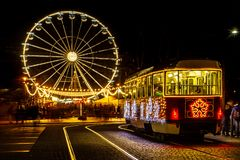 Advent Brno, Czech Republic. Winter time in my hometown - Brno, Czech Republic. Advent tram in fronf of `Brno Eye royalty free stock images