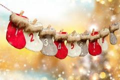 Advent calendar on blur background stock photos
