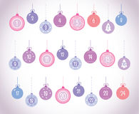 Advent Calendar Christmas Ball Vector Set Number 1-24. Colorful violet pink blue red christmas ball advent calendar vector set with numbers 1-24 and patterns Stock Photos