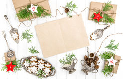 Advent calendar Christmas cookies gifts paper sheet Decoration Stock Photo