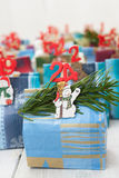 Advent calendar Christmas decoration made of little paper bags Stock Image