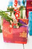 Advent calendar Christmas decoration made of little paper bags Stock Photo