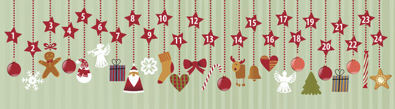 Advent Calendar. With Christmas decorations Royalty Free Stock Photography