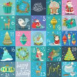 Advent calendar. Christmas poster. Big collection of Christmas illustrations Stock Photography