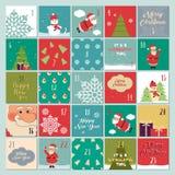 Advent calendar. Christmas poster. Santa Claus, snowflakes, snowman, Christmas tree, Christmas symbols, Christmas font, Christmas Royalty Free Stock Photos