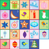 Advent calendar. Christmas poster. Twenty four gift cards Royalty Free Stock Photography