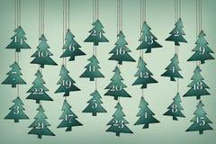 Advent Calendar com árvores de Natal Imagens de Stock Royalty Free