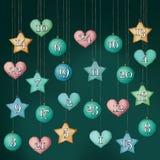 Advent Calendar com os números, pendurando Imagem de Stock Royalty Free