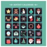 Advent Calendar con los diversos elementos de la Navidad Fotografía de archivo libre de regalías