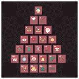 Advent Calendar con los elementos de la Navidad Imágenes de archivo libres de regalías