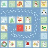 Advent calendar with cute bright pictures, symbols of the new year and Christmas. Christmas calendar, hand-drawn, cartoonish style. Vivid pictures with figures Stock Photos