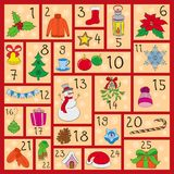 Advent calendar. Cute Christmas, winter and New Year symbols. Hand drawing style. Doodles vector poster. Stock Photos