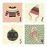 Advent calendar with cute hand drawn vector Christmas holiday illustrations for December 1st - 4th. Ugly christmas sweater, hat,. Advent calendar with cute hand royalty free illustration