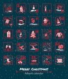 Advent Calendar 25 días de la Navidad Fije los iconos se dibujan a mano, entintan, cepillan Imágenes de archivo libres de regalías