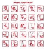 Advent Calendar 25 dagen van Kerstmis Royalty-vrije Stock Fotografie