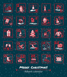 Advent Calendar 25 days of Christmas. Set icons are drawn by hand, ink, brush. Template  illustration Royalty Free Stock Images