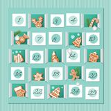 Advent calendar, decorated wirh gingerbread cookies. Countdown to Christmas. Vector. Illustration stock illustration