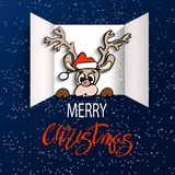 Advent Calendar Doors opening. Christmas advent calendar doors open and deer cartoon, red letters. White snow on a blue background. Merry Christmas poster stock illustration