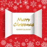 Advent Calendar Doors opening. Christmas advent calendar doors open and golden letters. White snowflakes on a red background. Vector illustration royalty free illustration