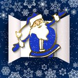 Advent Calendar Doors opening. Christmas advent calendar doors open and and funny santa claus. White snowflakes on a blue background. Vector illustration royalty free illustration