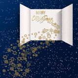 Advent Calendar Doors opening. Christmas advent calendar doors open and golden letters. Golden snowflakes on a blue background. Merry Christmas poster concept stock illustration