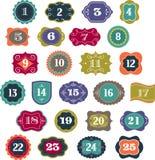 Advent Calendar - etiquetas, etiquetas, elementos Imágenes de archivo libres de regalías