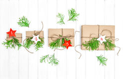 Advent calendar gifts christmas decoration evergreen branches Stock Image