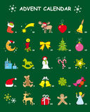 Advent calendar in green with 24 Christmas designs. Advent calendar, 24 Christmas designs, christmas tree, christmas ball, christmas motive, ice crystals, teddy Stock Illustration