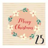 Advent calendar with hand drawn vector Christmas holiday illustration for December 25th. Mistletoe flower wreath. For poster, blog stock illustration