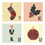 Advent calendar with hand drawn vector Christmas holiday illustrations for December 9th - 12th. Stocking, mistletoe, ornament,. Nutcracker. For poster, cards vector illustration