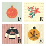 Advent calendar with hand drawn vector Christmas holiday illustrations for December 17th - 20th. Ugly Christmas sweater, ornaments. Mistletoe, flower. For royalty free illustration