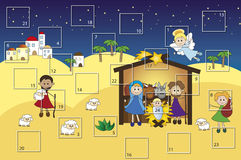Advent calendar. Illustration for advent calendar with nativity Royalty Free Stock Image