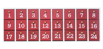 Advent Calendar. Made ​​of wood isolated over a white background Stock Photography