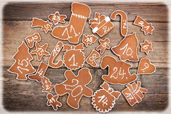 Advent calendar made of  gingerbread Stock Images